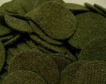 Army Green, 50 - 2 inch Wool Penny Rug Circles