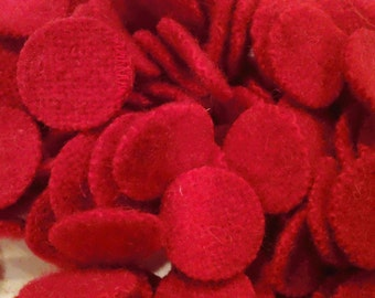 Really Red 100 -1 inch Wool Penny Rug Circles