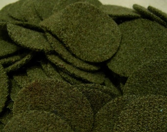 Army Green, 100 1.5 inch  Wool Penny Rug Circles