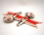 Vintage Red, White, and Blue Fabric Covered Button Hair Clips