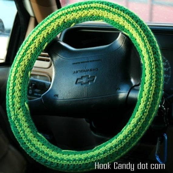 Daisy Stripes Steering Wheel Cover Crochet Pattern