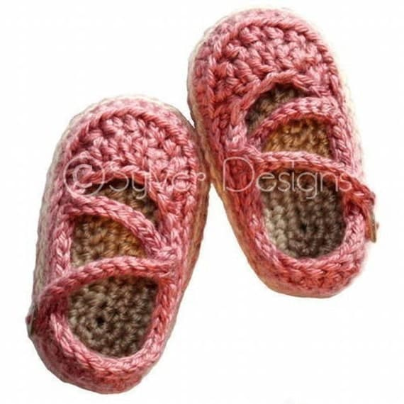 Crochet Pattern For A Baby Jacket : Baby Crossover Strap Mary Janes crochet pattern