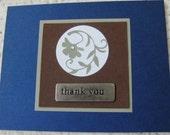 Handmade Card thank you metal embellishment