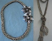 Crochet Pattern Pearl Beads On Black w White Flowers & Beaded Rope Necklaces in PDF
