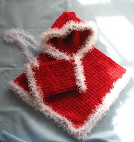 Free Crochet Pattern For Hand Muff : Items similar to Crochet Pattern Red Hooded Poncho in ...