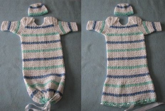 Crochet Pattern Infant Sweet Pea Outfit Or Pajamas In Stripes