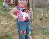 Boutique Hello Kitty Cowgirl Overalls Custom 2T-5T