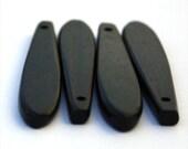Tiger Ebony 4x50mm Flat Skinny Teardrop Beads, top drilled, set of 4