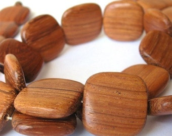 Bayong Wood Flat Square 16mm  Beads, 1 16 inch strand