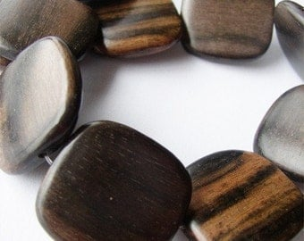 Tiger Ebony Flat Square 25mm Wood Beads, Center-Drilled