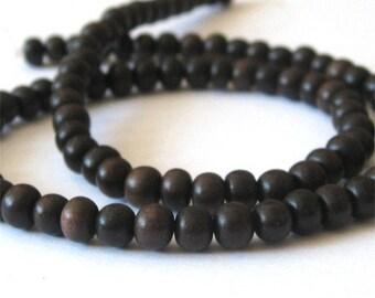 Tiger Ebony 4-5mm Round Beads