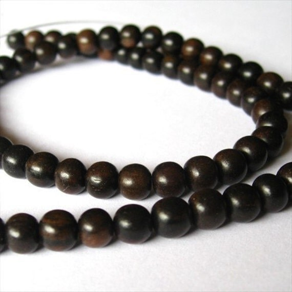 Tiger Ebony Round 6mm Wood Beads, 1 strand