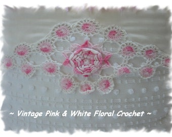 Stunning Pink and White Crochet and Chenille Pillow