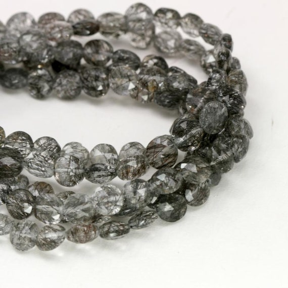 Black Tourmalinated Quartz Faceted Coin Gemstone Beads, 8in Strand- 7 mm, Black Flecked AAA Quality Semi Precious Gemstone Beads- Item 151