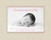 Baby Boy or Girl Custom Photo Birth Announcement - Brightly Striped