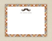 Personalized Flat Notecards with Envelopes(15) - Moustache & Plaid