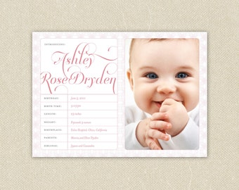 Baby Girl or Boy Custom Birth Announcement - The Sweet Essentials