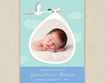 Baby Boy or Girl Custom Photo Birth Announcement - Stork Delivery