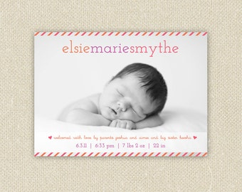 Baby Boy or Girl Custom Photo Birth Announcement - Brightly Striped