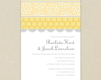 Wedding Invitations: Vintage Lovelies Wedding Collection - Yellow and Grey