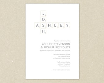 Wedding Invitations: Modern Scrabble Wedding Invitation Collection