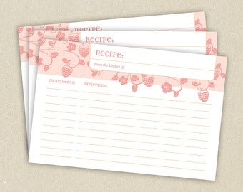 Recipe Cards: Red or Pink Sweet Strawberries