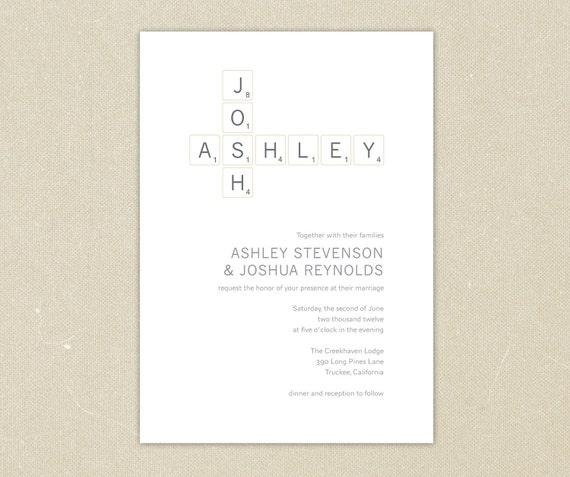 Wedding Invitations: Modern Scrabble Wedding Invitation Collection