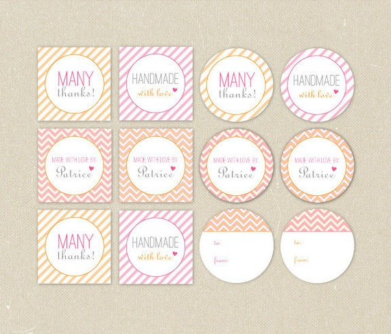 Printable Gift Tags, Stickers, or Cupcake Toppers: Sherbet Handmade Tags Assortment