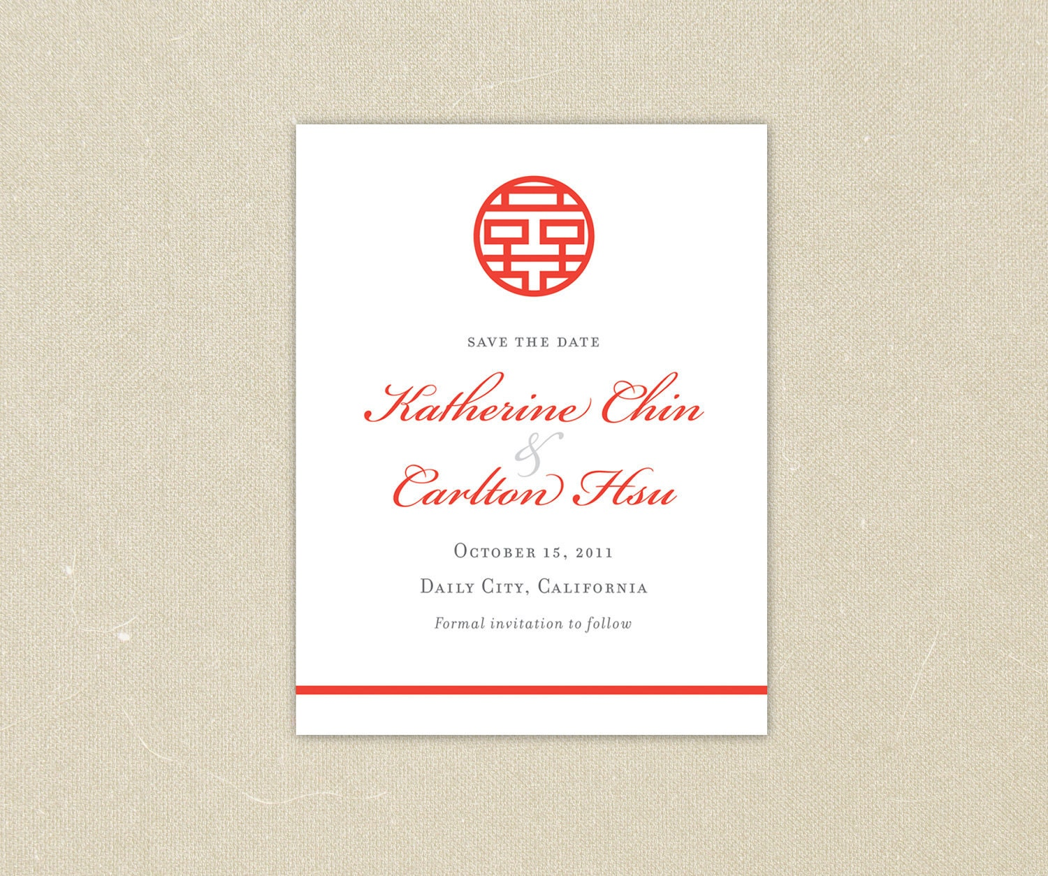 Wedding invitations red double happiness chinese wedding for Chinese wedding invitations etsy