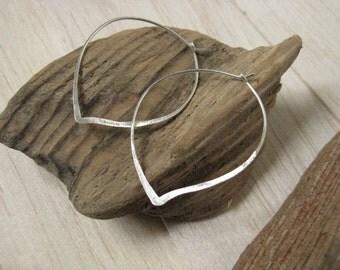 Rose petal silver hoop earrings,  modern silver earrings, leaf outline minimalist earrings, hammered silver