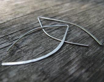 Modern minimalist earrings, simple leaf open earrings, small wishbone earrings, simple line in silver or gold brass