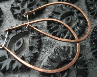 Goddess Hathor statement copper hoop earrings, large oval  geometric hoops, horseshoe shaped earrings, rustic hammered, egyptian inspired