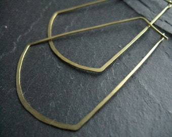 Sun Ray, oversized geometric hoop earrings, egyptian earrings, skinny hoops, thin hoops in gold tone brass