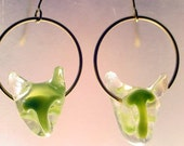 Green Cat Earrings