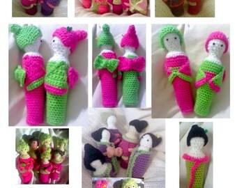 Crocheted Lady Kokeshi Dolls Pattern