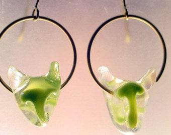 Green Cat Earrings