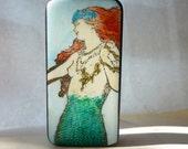redheaded mermaid domino magnet