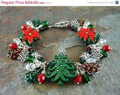 Reserved for Jo,HOLIDAY SALE, Charm Bracelet & Earrings, Red and Green, O' Christmas Tree, Tpmb, Free Shipping