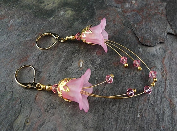 Clearance Bella, Handmade Earrings, Lucite, Crystal, and Gold Beaded Earrings, TPMB, Free Shipping