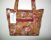 Quilted Fabric Bag Purse Golden Brown with Beautiful Roses