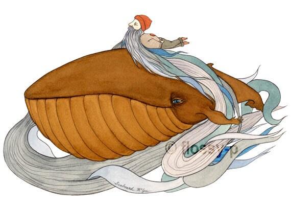Seabeard, Mini Print. Whale, man, ocean-beard.