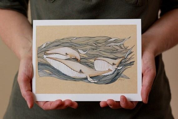 Blue Whales, Mini Print