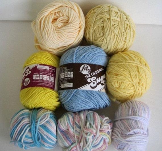 mixed lot of cotton yarn one pound destash