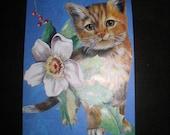 Original OSWOA  Altered Art Collage Christmas Kitty