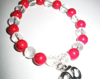 Red Coral and Quartz Crystal Mala Bracelet