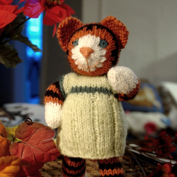 Knitting Pattern - Tiger with Dress - PDF File