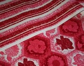 HOLD FOR EMILY - Two Amazing Rolls Red and Pink Flocked Wall Paper 35 SQ Feet Each - Near Mint