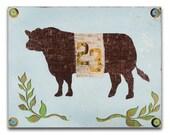 Texas State Fair Show Cattle Wood Art Print