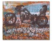 Motorcycle Road Trip Panel Painting, Original Screenprint Art on Wood