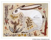 On SALE Southwest Jackrabbit Art Print on Paper, Desert Ramble
